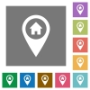 Home address GPS map location square flat icons - Home address GPS map location flat icons on simple color square backgrounds