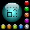 Maximize element icons in color illuminated glass buttons - Maximize element icons in color illuminated spherical glass buttons on black background. Can be used to black or dark templates