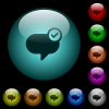 Message sent icons in color illuminated glass buttons - Message sent icons in color illuminated spherical glass buttons on black background. Can be used to black or dark templates