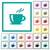 Cappuccino flat color icons with quadrant frames on white background - Cappuccino flat color icons with quadrant frames
