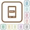 Mobile pin code simple icons - Mobile pin code simple icons in color rounded square frames on white background