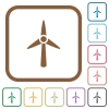 Wind turbine simple icons in color rounded square frames on white background - Wind turbine simple icons