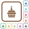Birthday cupcake simple icons in color rounded square frames on white background