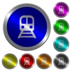 Train luminous coin-like round color buttons - Train icons on round luminous coin-like color steel buttons