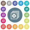 Play files flat white icons on round color backgrounds - Play files flat white icons on round color backgrounds. 17 background color variations are included.