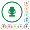 Office chair flat icons with outlines - Office chair flat color icons in round outlines on white background
