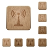 Wlan network on rounded square carved wooden button styles - Wlan network wooden buttons