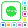 Bonus sticker vivid colored flat icons - Bonus sticker vivid colored flat icons in curved borders on white background