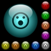 Shocked emoticon icons in color illuminated glass buttons - Shocked emoticon icons in color illuminated spherical glass buttons on black background. Can be used to black or dark templates