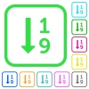 Ascending numbered list vivid colored flat icons - Ascending numbered list vivid colored flat icons in curved borders on white background