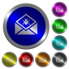 Open mail with malware symbol luminous coin-like round color buttons - Open mail with malware symbol icons on round luminous coin-like color steel buttons