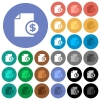Dollar financial report round flat multi colored icons - Dollar financial report multi colored flat icons on round backgrounds. Included white, light and dark icon variations for hover and active status effects, and bonus shades on black backgounds.