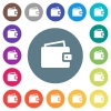 Single wallet flat white icons on round color backgrounds - Single wallet flat white icons on round color backgrounds. 17 background color variations are included.
