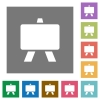 Blackboard flat icons on simple color square backgrounds - Blackboard square flat icons