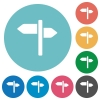 Signpost flat round icons - Signpost flat white icons on round color backgrounds
