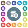 Yen coins flat white icons on round color backgrounds. 17 background color variations are included.