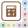 Pocket calculator simple icons - Pocket calculator simple icons in color rounded square frames on white background