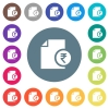 Indian Rupee financial report flat white icons on round color backgrounds - Indian Rupee financial report flat white icons on round color backgrounds. 17 background color variations are included.