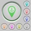 Sea port GPS map location push buttons - Sea port GPS map location color icons on sunk push buttons