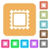 Stamp flat icons on rounded square vivid color backgrounds. - Stamp rounded square flat icons
