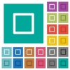 Media stop square flat multi colored icons - Media stop multi colored flat icons on plain square backgrounds. Included white and darker icon variations for hover or active effects.