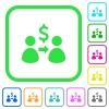 Send dollars vivid colored flat icons - Send dollars vivid colored flat icons in curved borders on white background