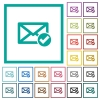 Mail read flat color icons with quadrant frames - Mail read flat color icons with quadrant frames on white background