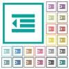 Decrease text indentation flat color icons with quadrant frames - Decrease text indentation flat color icons with quadrant frames on white background