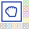 Grab cursor flat framed icons - Grab cursor flat color icons in square frames on white background