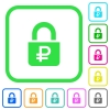 Locked Rubles vivid colored flat icons - Locked Rubles vivid colored flat icons in curved borders on white background