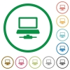 Network computer flat color icons in round outlines on white background - Network computer flat icons with outlines