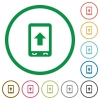 Mobile scroll up flat icons with outlines - Mobile scroll up flat color icons in round outlines on white background