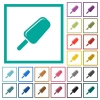 Ice lolly flat color icons with quadrant frames - Ice lolly flat color icons with quadrant frames on white background