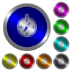 Compass icons on round luminous coin-like color steel buttons - Compass luminous coin-like round color buttons