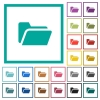 Folder open flat color icons with quadrant frames - Folder open flat color icons with quadrant frames on white background