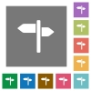 Signpost square flat icons - Signpost flat icons on simple color square backgrounds