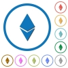 Ethereum digital cryptocurrency icons with shadows and outlines - Ethereum digital cryptocurrency flat color vector icons with shadows in round outlines on white background