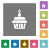 Birthday cupcake square flat icons - Birthday cupcake flat icons on simple color square backgrounds