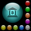 Bitcoin bank office icons in color illuminated glass buttons - Bitcoin bank office icons in color illuminated spherical glass buttons on black background. Can be used to black or dark templates