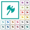 Two headed battle axe flat color icons with quadrant frames - Two headed battle axe flat color icons with quadrant frames on white background