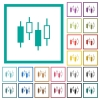 Candlestick chart flat color icons with quadrant frames on white background - Candlestick chart flat color icons with quadrant frames