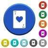 Seven of hearts card beveled buttons - Seven of hearts card round color beveled buttons with smooth surfaces and flat white icons