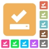 Successfully saved rounded square flat icons - Successfully saved flat icons on rounded square vivid color backgrounds.