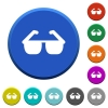 Sunglasses beveled buttons - Sunglasses round color beveled buttons with smooth surfaces and flat white icons