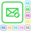Tagging mail vivid colored flat icons - Tagging mail vivid colored flat icons in curved borders on white background