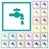Water faucet with water drop flat color icons with quadrant frames - Water faucet with water drop flat color icons with quadrant frames on white background