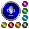 Office chair luminous coin-like round color buttons - Office chair icons on round luminous coin-like color steel buttons