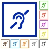 Hearing impaired flat framed icons - Hearing impaired flat color icons in square frames on white background