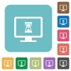 Busy computer rounded square flat icons - Busy computer white flat icons on color rounded square backgrounds