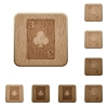 Three of clubs card wooden buttons - Three of clubs card on rounded square carved wooden button styles